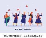 happy students wearing blue... | Shutterstock .eps vector #1853826253