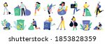 cleaning collecting sorting... | Shutterstock .eps vector #1853828359