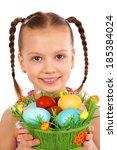 smiling little girl with basket ... | Shutterstock . vector #185384024
