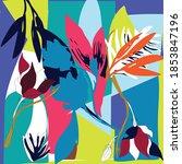 leaf colorful flower scarf... | Shutterstock .eps vector #1853847196