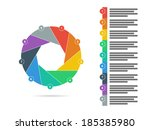 colorful nine sided puzzle... | Shutterstock .eps vector #185385980