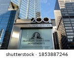 Small photo of Toronto, Canada-November 9, 2020: Sign for Franklin Templeton Investments Corp. is seen in downtown Toronto, Canada. Franklin Templeton is a global investment firm headquartered in California.