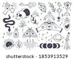 set of mystic astronomy in hand ... | Shutterstock .eps vector #1853913529
