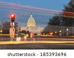 Stock photo capitol building night view from pennsylvania avenue with car lights trails washington dc united 185393696