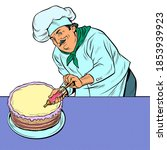 pastry chef man with cake. pop... | Shutterstock .eps vector #1853939923