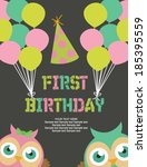 first birthday party card   Shutterstock .eps vector #185395559