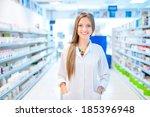pharmacist chemist woman... | Shutterstock . vector #185396948
