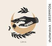 zodiac sign libra in boho style.... | Shutterstock .eps vector #1853999206