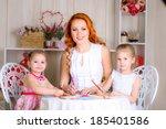 kids in kindergarten with their ... | Shutterstock . vector #185401586