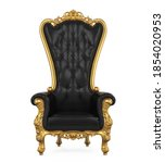 Throne Chair Isolated (front view). 3D rendering