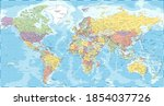 world map   political   vector... | Shutterstock .eps vector #1854037726