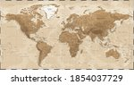 world map   vintage physical... | Shutterstock .eps vector #1854037729
