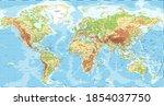 world map   physical... | Shutterstock .eps vector #1854037750