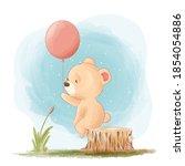 Cute Little Teddy Bear Cartoon...