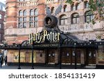 Small photo of Harry Potter and the cursed child sign and logo with a nest on Palace Theatre West End entrance. A stage play for children based on the book of J.K Rowling. Central London, UK - 02 November 2020