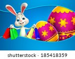 cute easter bunny with sign | Shutterstock . vector #185418359