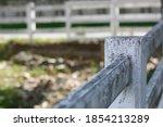 White Rail Fence Leading Along...
