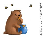 Cute Teddy Bear Eating Honey...
