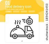 vector line food delivery icon...