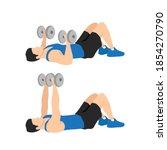 dumbbell floor chest press... | Shutterstock .eps vector #1854270790