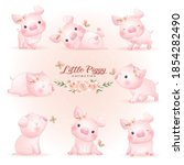 cute doodle piggy poses with... | Shutterstock .eps vector #1854282490
