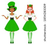 young women wearing green hats... | Shutterstock .eps vector #1854283309
