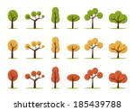 color trees set  in three colors | Shutterstock .eps vector #185439788
