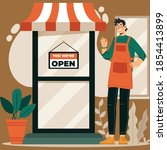 a business sign that says open... | Shutterstock .eps vector #1854413899