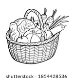 group of vegetables in basket.... | Shutterstock .eps vector #1854428536