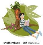 girl reading book under tree.... | Shutterstock .eps vector #1854508213