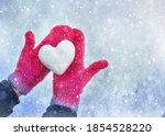 Female Hands In Knitted Mittens ...