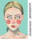 blonde woman portrait and... | Shutterstock . vector #1854560479
