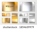 realistic shiny metal banners... | Shutterstock .eps vector #1854639979