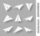 realistic handmade paper planes ... | Shutterstock .eps vector #1854640840