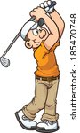 cartoon golfer. vector clip art ... | Shutterstock .eps vector #185470748