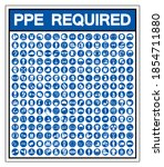 set of ppe required symbol sign ...   Shutterstock .eps vector #1854711880