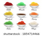 dip sauce bowls. guacamole and... | Shutterstock .eps vector #1854714466