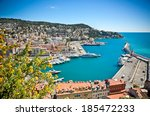 panoramic view of nice harbour... | Shutterstock . vector #185472233