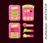 set of game ui funny pinky...
