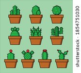 Icon Of Cactus Plant With...
