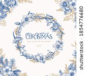 Round Christmas Wreath. Floral...