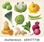 set of exotic vegetables. vector | Shutterstock .eps vector #185477738