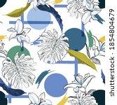 trendy modern tropical monstera ... | Shutterstock .eps vector #1854804679