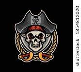skull pirates on black... | Shutterstock .eps vector #1854812020