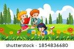 children at ourdoor nature...   Shutterstock .eps vector #1854836680