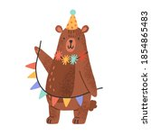 cute teddy bear wearing party... | Shutterstock .eps vector #1854865483
