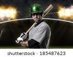 baseball player on a green... | Shutterstock . vector #185487623