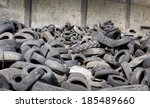Pile Of Old Used Tires Stocked...