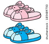 pink and blue bunny slippers... | Shutterstock .eps vector #185489750