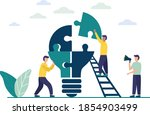 people connect the parts of the ... | Shutterstock .eps vector #1854903499